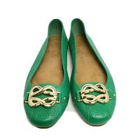 Aerosoles 8.5 M bright green pebbled leather flats gold accent style High Bet