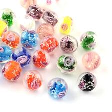 100PC Gorgeous Handmade Luminous Inner Lampwork Glass Beads Flower Spacer 9~10mm