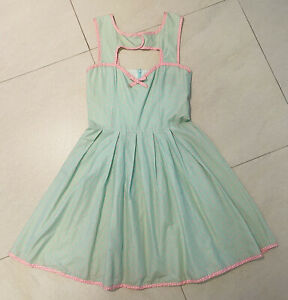 Kitten D'Amour Light Green / Pink Printed Sleeveless Fit & Flare Dress Size 10