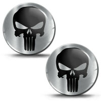 2x Resinati 3D Adesivi Punisher Skull Cranio Teschio Logo Nero Auto Moto KS 185
