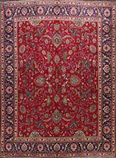 Vintage AllOver Floral Red Tebriz Hand-Knotted Area Rug Dining Room Carpet 10x12