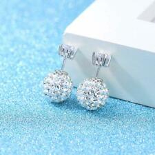 925 Sterling Silver Large 1cm Ball Diamante Crystal Sparkle Stud Earrings E31