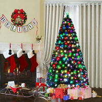 6Ft Fiber Optic Artificial Christmas Tree w/225 Multi-color LED Lights and Stand