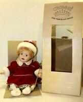 Vintage Artmark Crowne Fine Porcelain Doll Blue Eyed Christmas Baby Red Velvet