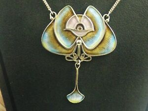 Large sterling silver necklace by PAT CHENEY abstract art nouveau design