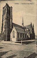 Feldpostkarte 1917 Ypres Ypern Kirche Feldpost-AK nach Rechenberg gelaufen