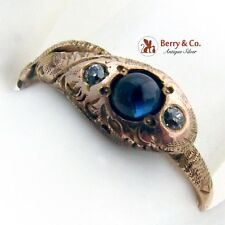 Vintage Snake Ring Sapphire Old Mine Cut Diamonds 14 K Rose Gold