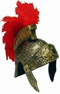 Roman Helmet Gold Rigid Plastic Costume Helmet W/ Red Feather Brush