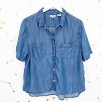 Levis Shirt Size XL Blue Chambray Button Down Beverly Short Sleeve Boxy Blouse