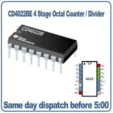 4000 Series 4022 CD4022BE 4 Stage Octal Counter Divider. Texas Instruments DIP16