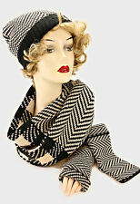 Beige and Black Check and Herringbone Patterned 3 Piece Hat Scarf and Hand Cover