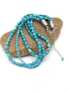 Beautiful Navajo Nacozari Turquoise Nugget Silver Bead 3 Str Necklace 23in 2763