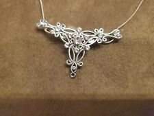 """Vintage AB Rhinestone Pendant Necklace / Brooch on 16"""" Sterling 925 Chain"""