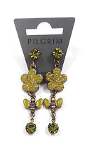 NEW PILGRIM GOLD PLATED EARRINGS SWAROVSKI CRYSTALS GREEN ENAMEL BEES & FLOWERS