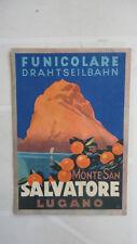 FUNICOLARE DRAHTSEILBAHN MONTE SAN SALVATORE LUGANO 1935
