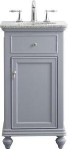 BATHROOM VANITY SINK CHEST CONTEMPORARY SINGLE LIGHT GRAY BRUSHED STEEL SO