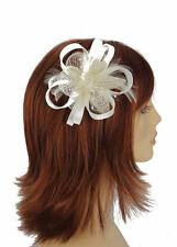 White Satin Bow with centre matching Sinamay Flower Hair fascinator sprung clip