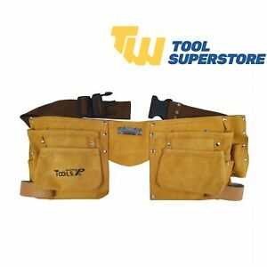 Tool Belt Leather Heavy Duty Double Work Belt Pouch Riveted Stitch Professional