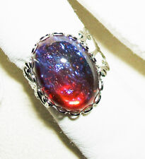 DRAGON'S BREATH OPAL Ring SILVER Plated Czech GLASS Mexican Opal Adjustable Cuff