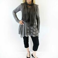 NEW Jessica Taylor Plus Charcoal Lace Overlay Sheer Scarf Tunic Blouse 2X