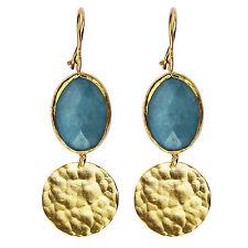 Ohrringe AQUA CALCEDON blau gold Messing vergoldet Schmuckmanufaktur Wien ***