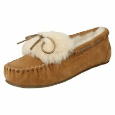 LADIES CLARKS FUR LINED MOCCASIN SLIPPERS WARM GLAMOUR