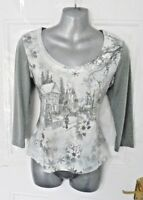 ❤ PER UNA Size 12 Grey Winter Scene Blouse Top Sequin Holly Snowman Christmas