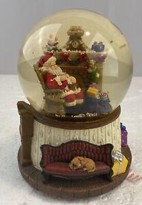 Santa Resting Musical Snow Globe  Sleep In Heavenly Peace