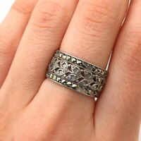 925 Sterling Silver Antique Real Marcasite Gem Leaf Design Wide Band Ring Size 7