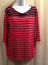 JCP Melon & Black Soft Knit Top Shirt Size XL