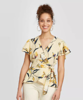 Women's Floral Print Ruffle Short Sleeve Wrap Top, A New Day, Cream FLORAL