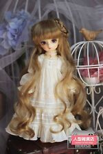BJD Doll 1/4 7-8 Wig Long Curly Wave Bun Hair Mohair for Girl Blonde Brown