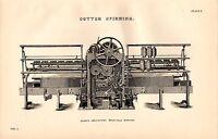1868 Imprimé ~ Coton Spining ~ PLATT'S Auto Agissant Mule Arrière Elevation