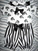 New Baby Girls Black white Pink Zebra Stripes Spots pelican T-shirt Bloomers Set