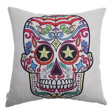 Skull Multicolored Cotton Linen Pillow Case Sofa Waist Throw Cushion Cover Decor