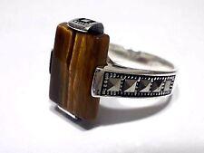 Turkish Ottoman Tiger's Eye Gemstone  Marcasite 925 Sterling Silver Men Ring