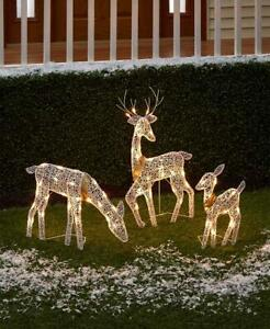 3-Pc. Lighted Deer Family Yard Lawn Art Christmas Holiday Outdoor Home Decor