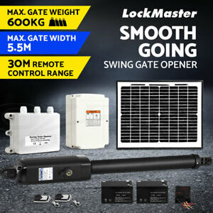 LockMaster Swing Gate Opener Automatic Full Solar Power Kit Remote Control 600KG