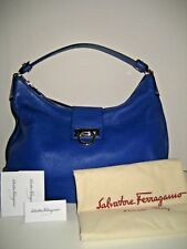 0fd8ceec6a NEW  1390 Salvatore Ferragamo Fanisa Blue Leather Hobo Shoulder Bag Handbag