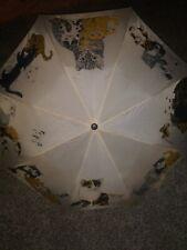 """Vintage Artfarm Umbrella Cat Pictures Wood Cat Handle 17"""""""