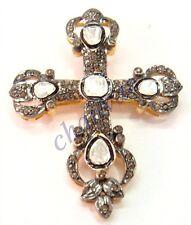 Diamond 925 Silver Pendant Csj1510 Christmas Cross Gift 2.11C Rose Cut/Polki