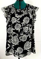 City Chic Black & White Floral Blouse Shirred Neckline Plus Size S