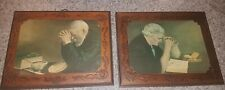 *GRACE & GRATITUDE* VTG Eric Engstrom Carved Wood Plaques~Old Man & Lady Praying