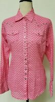 Ariat Pink Pearl Snap Western Shirt Women's Size Small, long sleeve, pockets