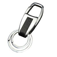 Men Creative Metal Leather Key Chain Ring Keyfob Car Keyring Keychain Gift 4