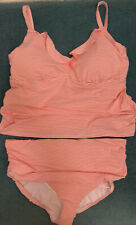 Ralph Lauren Women's Plus Size Coral Striped Tankini and High Waisted Bottom 22W