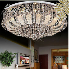 Chrome LED Round Crystal Chandelier Pendant Lamp Ceiling Lighting Light C14