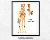 Giraffe Hello Little One Print,Nursery Print Wall Art, Quality White Linen Paper