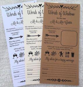 Wedding Words of Wisdom Card Scrolls Advice Bride & Groom Wedding Favour (W101)