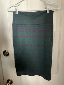 NWT Lularoe Cassie Skirt, XS Green And Purple Abstract Design